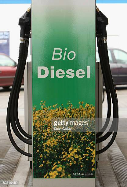 A sign announces biodiesel or ethanol at a gas station that sells gasoline as well as biofuels on April 7 2008 in Berlin Germany The German...