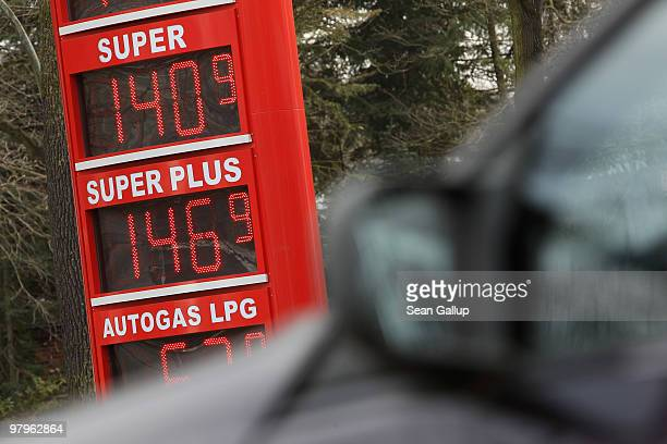 A sign announces prices in Euros for gasoline at a filling station on March 23 2010 in Berlin Germany German President Horst Koehler said on Sunday...