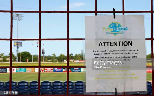 Sign announces that Phillies Florida Operations and Spectrum Field, spring training home of the Philadelphia Phillies, have been shut down on May 20,...