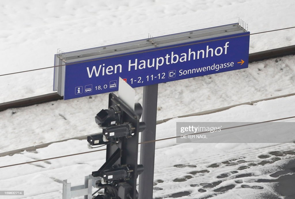 A sign announces the new Vienna central railway station on January 21, 2013 in Vienna, Austria.