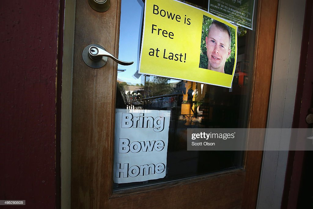 A sign announcing the freedom of Sgt. Bowe Bergdahl hangs above a faded one calling for his return hang on the front door of Zaney's coffee shop where Bergdahl worked as a teenager on June 2, 2014 in Hailey, Idaho. Sgt. Bergdahl was released from captivity on May 31 after being captured in Afghanistan in 2009 while serving with U.S. Armys 501st Parachute Infantry Regiment in Paktika Province. He was released after a deal was worked out to swap his freedom for the freedom of 5 Taliban prisoners being held at Guantanamo Bay. Bergdahl was considered the only U.S. prisoner of war held in Afghanistan.