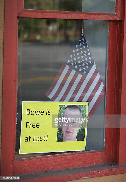 A sign announcing the release of Sgt Bowe Bergdahl sits in the window of the Hailey Paint and Supply store on Main Street June 1 2014 in Hailey Idaho...