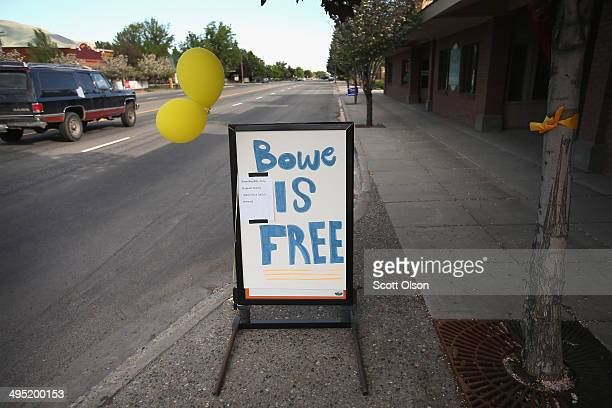 A sign announcing the release of Sgt Bowe Bergdahl sits outside the RadioShack store on Main Street on June 1 2014 in Hailey Idaho Sgt Bergdahl was...