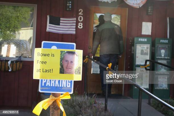 A sign announcing the release of Sgt Bowe Bergdahl sits outside Zaney's coffee shop where Bergdahl worked as a teenager on June 2 2014 in Hailey...