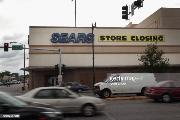 A sign announcing the store will be closing hangs above a Sears store on August 24 2017 in Chicago Illinois Sears Holdings Corporation which owns...