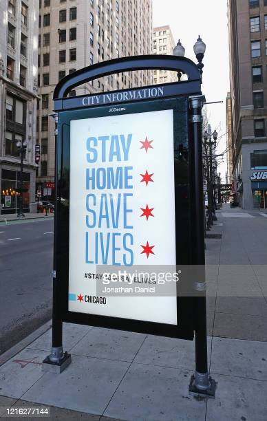 A sign asking people to stay home is seem during the shelter in place order that was continued until April 30 for the COVID19 crisis in downtown on...