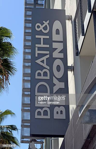 Sign at a Bed Bath & Beyond store on April 10, 2013 in Los Angeles, California. The home goods retailer is expected to release fourth-quarter...