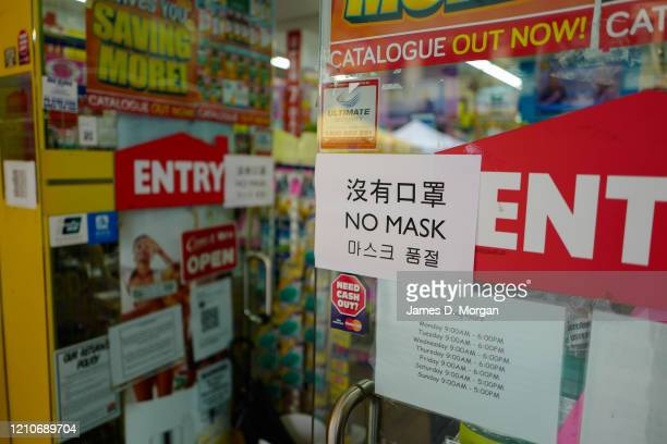 A sign at a chemist informing customers of no mask availablitiy in the suburb of Chatswood on March 06 2020 in Sydney Australia 26 people have now...