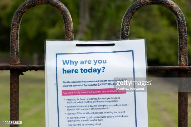 Sign at a park in Llandaff Fields during the coronavirus lockdown period on May 16, 2020 in Cardiff, United Kingdom. The prime minister announced the...