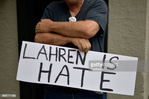 Sign at a protest outside a tour stop of conservative political commentator Tomi Lahren at the Keswick theatre in Glenside PA in the Philadelphia...