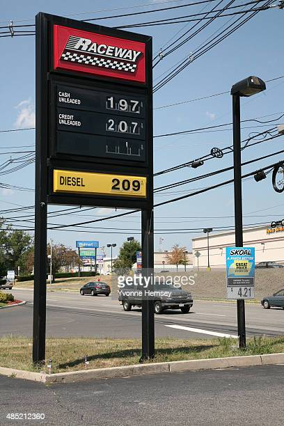Sign at a Raceway Petroleum gas station on August 25, 2015 in Woodbridge, New Jersey. Some places in New Jersey are seeing prices under two dollars...