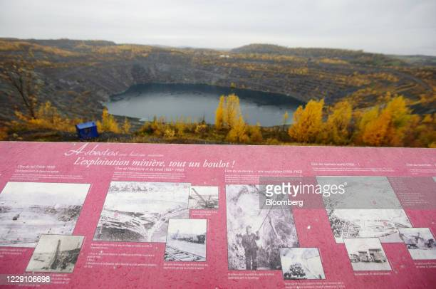 Sign at an observation point displays information about the closed Jeffrey asbestos mine as residents vote for a new town name in Asbestos, Quebec,...