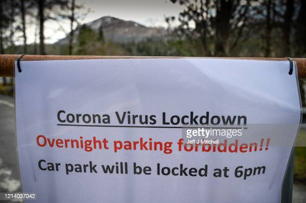 Sign at Aonach Mor car park as members of the public are asked to stop traveling to the Scottish Highlands in a bid to avoid spreading the...