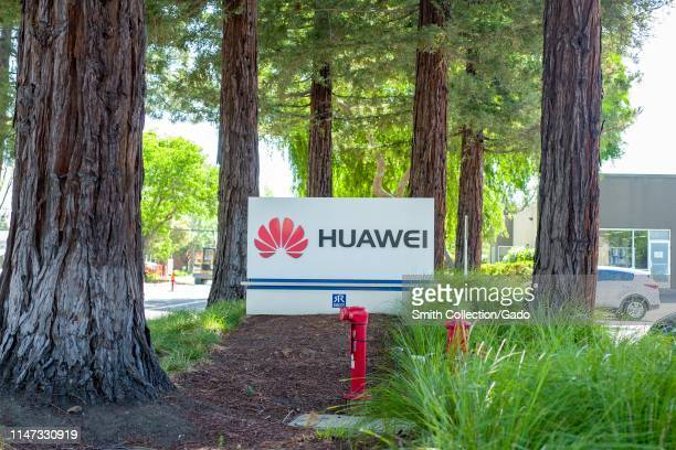 Sign at entrance to office of Chinese networking equipment company Huawei in the Silicon Valley Mountain View California May 3 2019