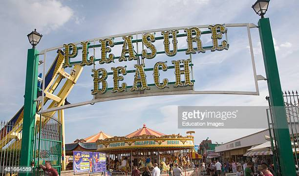 Sign at entrance to Pleasure Beach funfair Great Yarmouth Norfolk England