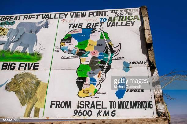 A sign at Great Rift Valley View Point next to Nairobi on October 08 2017 in Nairobi Kenya