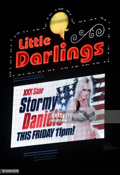 A sign at Little Darlings Las Vegas advertises an upcoming performance at the strip club by adult film actress/director Stormy Daniels on January 25...