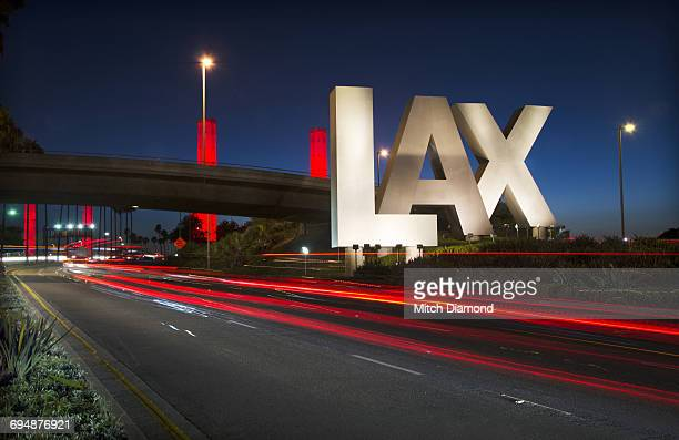 lax sign at los angeles international airport - lax airport stock pictures, royalty-free photos & images