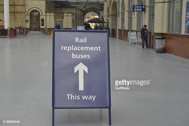 A sign at Manchester Victoria railway station showing the availability of rail replacement bus services in Manchester Greater Manchester England...