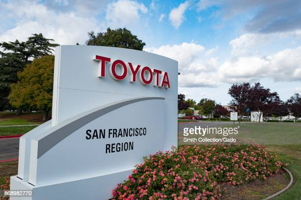 Sign at San Francisco regional headquarters of automotive company Toyota in the Bishop Ranch office park in San Ramon California October 20 2017