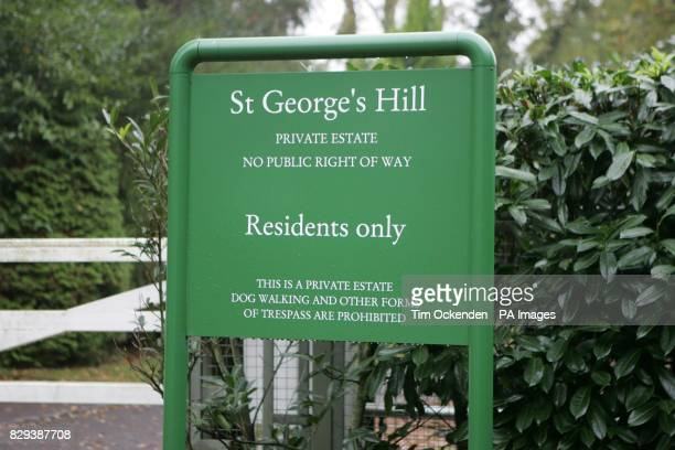 Sign at St George's Hill estate Weybridge A High Court judge began his day today watching a DVD by top filmmaker David WynnJones who took footage of...