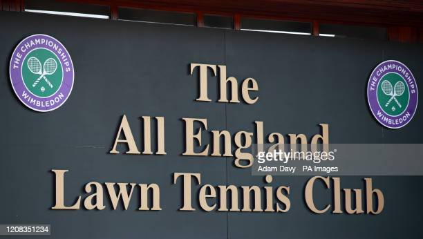 Sign at The All England Lawn Tennis Club, where they will decide whether to go ahead with this summer's Wimbledon championships during an emergency...