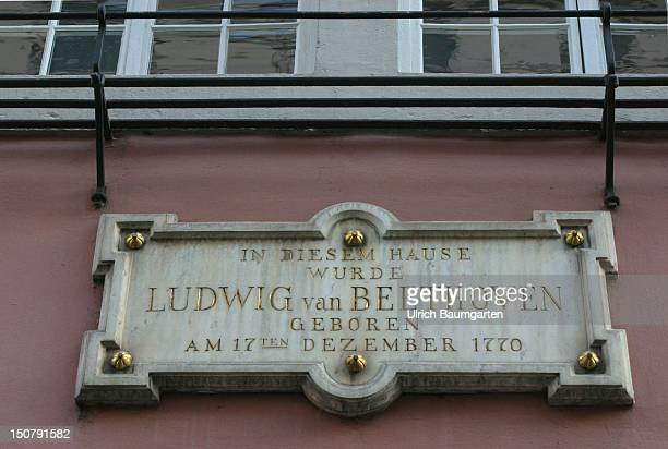 Sign at the BeethovenHaus in Bonn the place where Ludwig van Beethoven was born