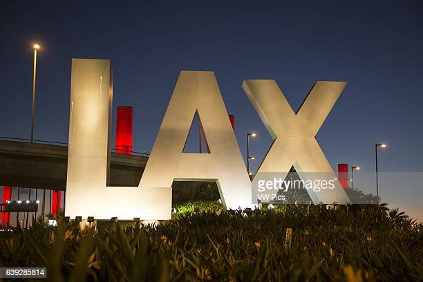 LAX sign at the Century Boulevard entrance to Los Angeles International Airport