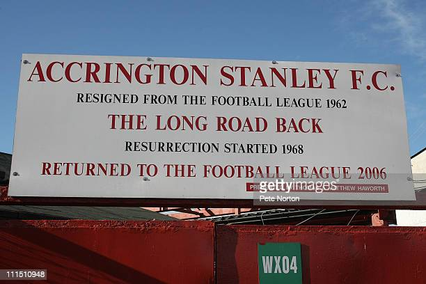 A sign at the Crown Ground seen during the npower League Two League match between Accrington Stanley and Northampton Town at the Crown Ground on...