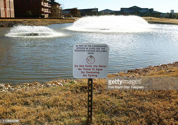 A sign at the edge of a reclamation pond that is also used as a water radiator for the cooling system of 14 different buildings December 5 2007 Dyess...