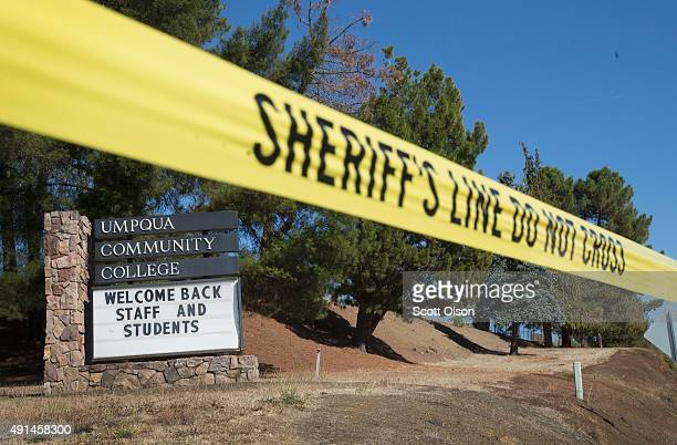 A sign at the edge of campus welcomes students and staff back to Umpqua Community College on October 5 2015 in Roseburg Oregon Despite crime scene...