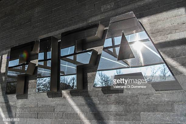 FIFA sign at the entrance of its headquarters on March 18 2016 in Zurich Switzerland