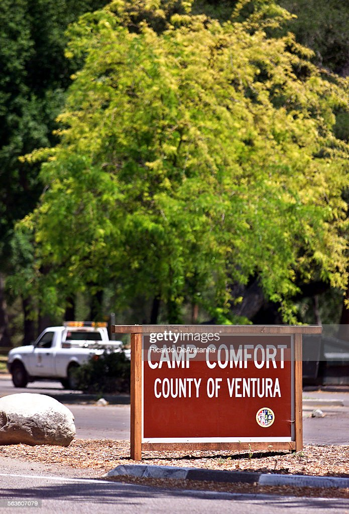 Sign at the entrance of the century Camp Comfort, near Ojai
