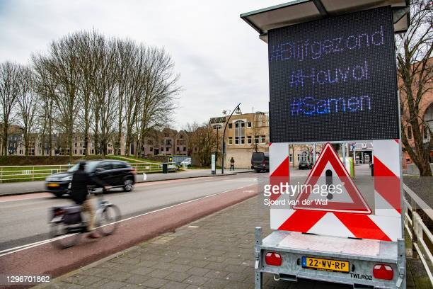 Sign at the entrance of the city center telling people to stay healthy and keep the 1.5m distance on January 16, 2021 in Zwolle, Netherlands. The...