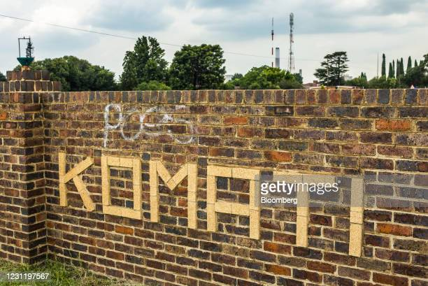Sign at the entrance road of the Komati coal-fired power station, operated by Eskom Holdings SOC Ltd., in Mpumalanga, South Africa, on Tuesday, Jan....