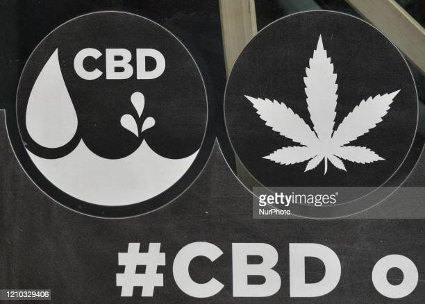 Sign at the entrance to Dr Ziolko Cannabis Shop, a legally operating store in Krakow's city-center, selling hemp products including cosmetics, hemp...