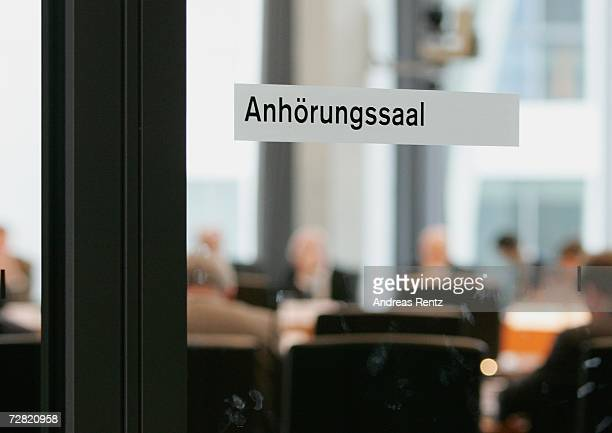 Sign at the entrance to the hall in which an opening session of Bundestag hearings on Germany's Iraq war involvement and related intelligence issues...