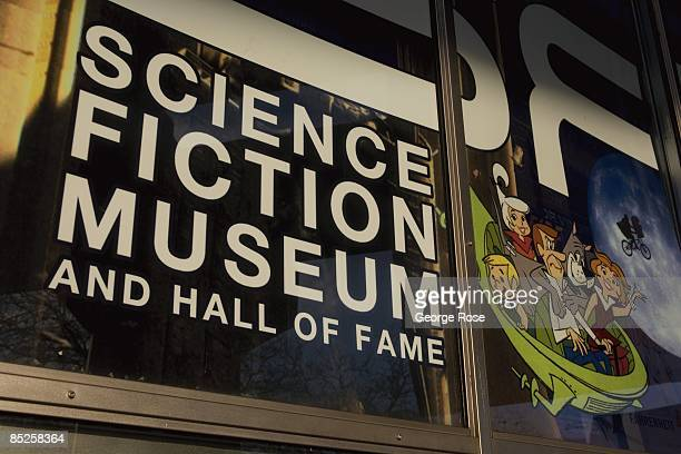 A sign at the entrance to the Science Fiction Museum and Hall of Fame is seen in this 2009 Seattle Washington city landscape photo
