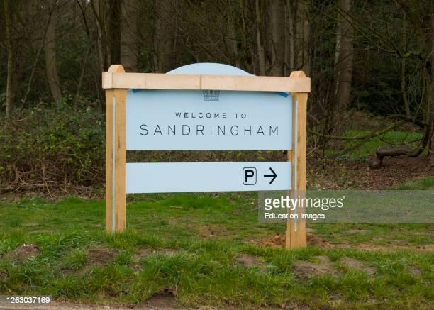 Sign at the entrance to the visitor center on the Sandringham Estate, Norfolk, UK.