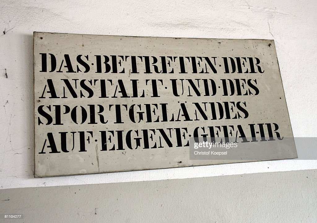 A sign at the Iserlohn prison on May 15, 2008 in Iserlohn, Germany. The prison in North Rhine-Westphalia inhabits 292 sentenced young men between 14 and 24 years and offers school education and different technical professions.