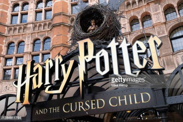 Sign at the Palace Theatre which is showing Harry Potter and the Cursed Child in the West End on 10th August 2021 in London, United Kingdom. The...