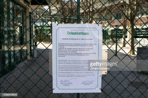 Sign at the Schweizerhaus that you have closed during Coronavirus Affects Everyday Life In Austria at Wiener Prater on March 13 2020 in Vienna Austria