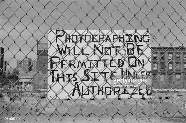 A sign at the site of the proposed Adam Clayton Powell Jr State Office Building at 163 W 125th Street in Harlem New York City circa 1968 It reads...