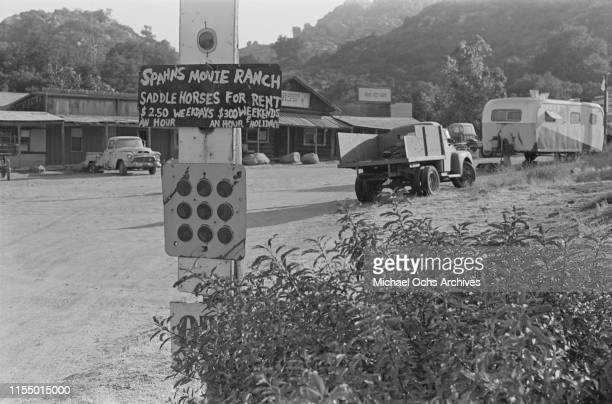 A sign at the Spahn Movie Ranch owned by American rancher George Spahn and residence of the Manson Family Los Angeles County California US 28th...