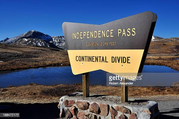 A sign at the summit of Independence Pass near Aspen Colorado marks the Continental Divide 5104602RA_Colorado17jpg
