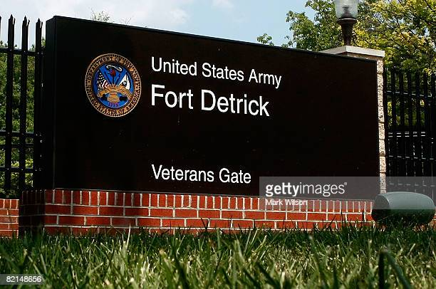 Sign at the Veterans Gate at Fort Detrick Army Medical Research Institute of Infectious Diseases is shown August 1, 2008 in Frederick, Maryland....