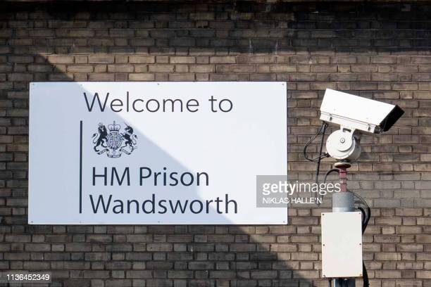 A sign at Wandsworth prison in southwest London where WikiLeaks founder Julian Assange is believed to be held according to media reports on April 12...