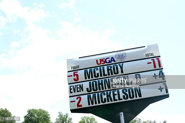 A sign board carries Rory McIlroy of Northern Ireland's final score during the second round of the 111th US Open at Congressional Country Club on...
