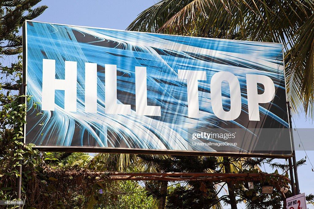 Sign board of a nightclub, Hilltop, Vagator Hill, Beach Road, Vagator, Bardez, North Goa, Goa, India : News Photo