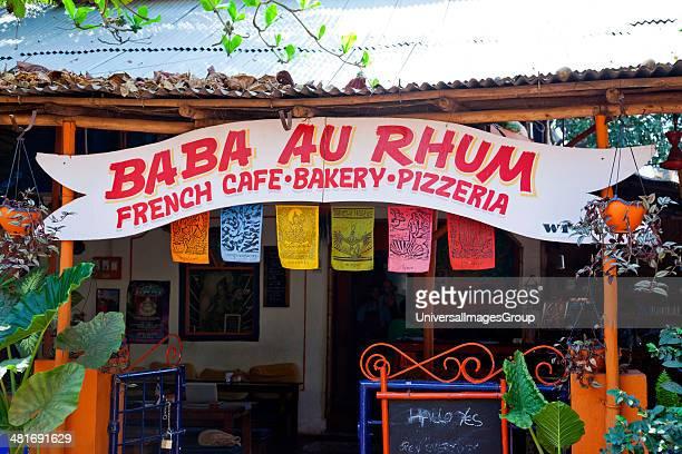 Sign board of a restaurant Baba au Rhum Restaurant Opposite Uttam Resorts Near Club Cubana Arpora Bardez North Goa Goa India